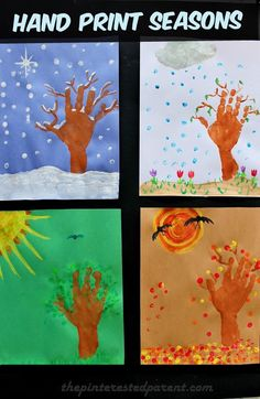 Kid's Hand Print Seasons - hand & finger print arts & crafts project with winter, spring, summer & fall autumn trees. Seasons Activities, Preschool Activities, Kindergarten Art, Preschool Crafts, Toddler Crafts, Crafts For Kids, Four Seasons Art, Halloween Bebes, Manualidades Halloween