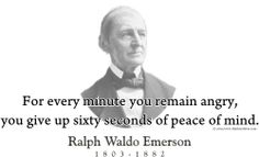 """ThinkerShirts.com presents Ralph Waldo Emerson and his famous quote """"For every minute you remain angry, you give up sixty seconds of peace of mind."""" Available in men, women and youth sizes"""