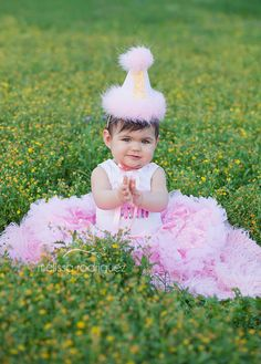 Girls First Birthday Party Hat  Pink and white by DaintyCouture, $25.00