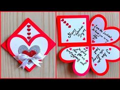 (4) Easy and beautiful card for valentines day / valentines day card making very easy - YouTube Valentines Day Cards Handmade, Handmade Birthday Cards, Happy Birthday Cards, Valentine Crafts, Greeting Cards Handmade, Valentines Day Desserts, Valentine Special, Easy Paper Crafts, Diy Crafts For Gifts
