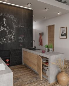 Materiales simples: cemento y madera. Colores basicos: blanco, negro y gris