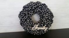 Denim Material Wreath with FAMILY sign #wreath #wreathideas #denim #goldenforrestcreations Homemade Wreaths, Family Signs, Burlap Wreath, Monogram, Denim, Burlap Garland, Monograms, Jeans