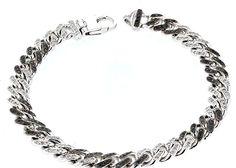 Cuban Link, 14Kt White Gold Diamond & Black Diamond Bracelet, D- 1.20 Tcw, Bd- 1.20 Tcw