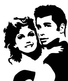 Grease Sandy Danny Vinyl Car Decal Bumper Window Sticker Any Grease Party, Wood Burning Patterns, Stencil Templates, Stencil Art, Stenciling, Airbrush Art, Scroll Saw Patterns, Silhouette Design, Pyrography
