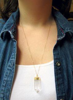 Raw Crystal Necklace Crystal Quartz by WanderandLustJewelry