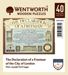 The Declaration of a Freeman of the City of London in a 40 piece laser-cut coaster sized wooden jigsaw with whimsies.