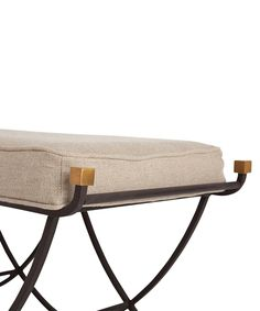 Felice Iron/Brass/Linen Bench by Arteriors--they have such great stuff!