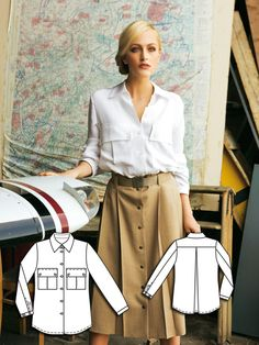 Read the article 'Aviator: 10 High Flying Sewing Patterns' in the BurdaStyle… Burda Sewing Patterns, Clothing Patterns, Corsage, Safari, Blouse Batik, Sewing Blouses, Shirt Tutorial, Make Your Own Clothes, Denim Crafts