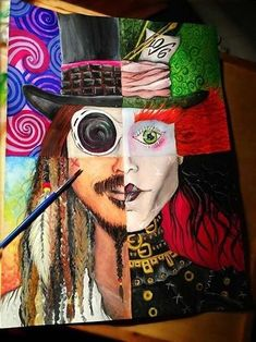 johnny depp characters, colourful painting, how to draw cool stuff, the mad hatter, jack spar Colorful Paintings, Cool Paintings, Deep Paintings, Disney Canvas Paintings, Colourful Art, Disney Drawings, Cute Drawings, Art Drawings Easy, Johnny Depp Personajes
