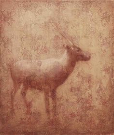 CARIBOU by Susan Hall oil on sculpted gesso on panel 51 x 43 inches