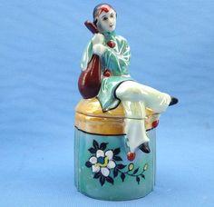 Fine Hand Painted Art Deco Figural Clown Pierrot Made in Japan Powder Jar | eBay