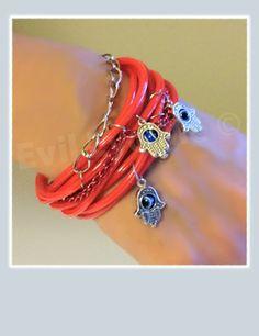 Red Bangles Khamsa Bracelet by EvilEyeMe on Etsy, $24.99