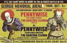 Fake boxing poster for the original vs the remake Pennywise the Clown. Scary Movies, Horror Movies, Joe Hill Books, Stephen King Film, It Georgie, Boxing Posters, Le Clown, Pennywise The Dancing Clown, King Book