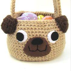 Crochet Pattern Easter Basket Pug Puppy Dog PDF por cuddlebugkids
