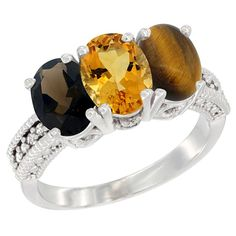 14K White Gold Natural Smoky Topaz, Citrine and Tiger Eye Ring 3-Stone 7x5 mm Oval Diamond Accent, sizes 5 - 10 ** Trust me, this is great! Click the image. : Jewelry Ring Bands