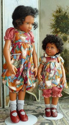 Naomi and Tooloo by Helen Kish, Original Sisters in Matching Dresses - Bunny's Babies #dollshopsunited
