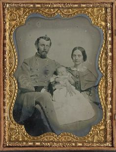 Sweet photo of Confederate Captain with his wife and baby. From the Library of Congress collection.