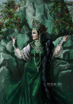 Mistress of Copper Mountain, from Russian folk tales Russian Folk, Russian Art, Gold Leaf Art, Pagan Gods, Copper Mountain, Legends And Myths, Russian Fashion, Fantastic Art, Shades Of Green