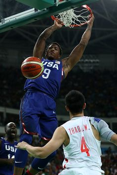 #RIO2016 Best of Day 1 - Demar DeRozan of United States dunks the ball over Jiwei Zhao of China in the Men's Preliminary Round Group A match on Day 1 of the Rio 2016 Olympic...