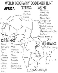 World Geography Scavenger Hunt: Africa ~ FREE Printable World Geography Scavenger Hunt FREE Printable: Africa from Starts At Eight Geography Worksheets, Geography Activities, Social Studies Worksheets, Geography Lessons, Teaching Geography, Geography Revision, Geography Quotes, Dinosaur Activities, Math Worksheets