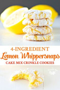 Aunt Bee's Lemon Whippersnaps are easy cake mix cookies that crinkle as they bake! These lemon cookies are the perfect summer treat! desserts with cake mix Aunt Bee's Lemon Whippersnaps {Cake Mix Crinkle Cookies} Lemon Cake Mix Cookies, Gooey Cookies, Lemon Cake Mixes, Yummy Cookies, Baking Cookies, Rolo Cookies, Lemon Bars Cake Mix Recipe, Crinkle Cookies Cake Mix, Cake Box Cookies