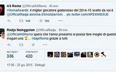 Ufficiale, Ora Nainggolan è della Roma. Ecco l'annuncio via Twitter Radja Nainggolan miglior giocatore della Roma per la stagione 2014-15. Il riconoscimento, arrivato nell'ambito dei 'Roma Awards' promossi dalla società di Trigoria, è stato comunicato dal club giallo #roma #nainggolan #twitter #mercato #calcio