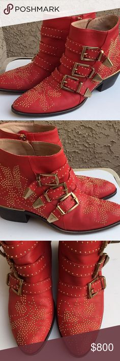 Chloe Susanna Red Leather Studded Boots 37 In almost-new condition! Worn twice, I LOVE looking at them in my closet, but my style is more business casual and I cannot foresee much use out of them. Purchased these when they came out, I am the original owner. I believe they were around $1400. NOTE: I am a true size 7.5, and the 37 fit perfect. I find these run slightly big. You will find opinion on sizing is a mixed bag, but that is my opinion. I had a 37.5 initially and they were too large…