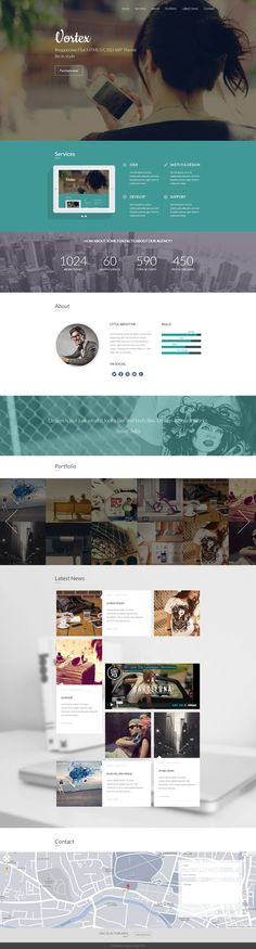 Vortex - One Page Parallax Flat WordPress Theme by Zizaza - design ocean , via Behance