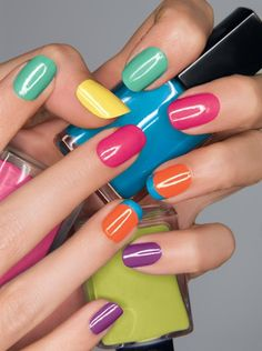 Playful nail look! Featured shades are: Speed Dry+ Nail Enamel in Turquoise Pop, Suddenly Sunny, Strawberry, Orange You Quick and On Point Blue