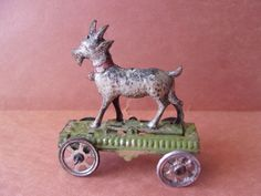 Antique MEIER Tin Mechanical GOAT & CART Penny Pull TOY, Works, Good Condition  | eBay