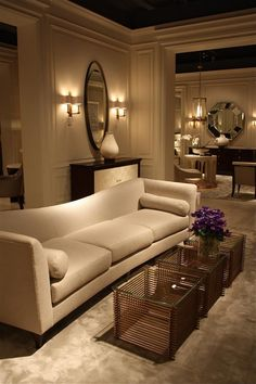 Interior ..Contemporary White & Mahogany Living Room