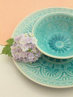 Aqua/Turquoise / Peach