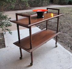DREXEL 2-Tier, Modernist, Walnut Server/Bar Cart in Upper West Side, New York, NY, USA ~ Krrb