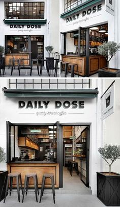 Gorgeous Coffee Shop in Greece! Andreas Petropoulos has recently completed the design of Daily Dose, a small takeaway coffee bar in the city of Kalamata, Greece, that features a white, black and wood interior. Cafe Shop Design, Coffee Shop Interior Design, Coffee Design, Small Cafe Design, Small Store Design, Store Front Design, Coffee Cafe Interior, Bakery Design, Cafe Bar