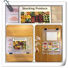 Work box- practicing job skill. This helps students learn to match different produce that can one day turn into a job.