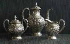SIGNED Sterling Silver Repousse Kirk and Son Tea/Coffee Pot Set Creamer Sugar