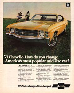 1971 Chevrolet Chevelle car print ad vintage decor by Vividiom, $9.00
