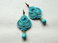 Soutache Earrings Turquoise-Mint Swarovski Glamour from KC-Soutache by DaWanda.com