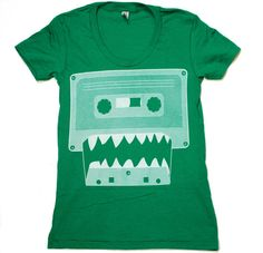 Womens MONSTER cassette tape american apparel tee t shirt S M L XL (Kelly Green) on Etsy, $21.00