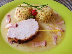 Raspberrybrunette: Pečené bravčové karé s horčicovo- syrovou šťavou, slovenská ryža Risotto, Raspberry, Grains, Fish, Meat, Dinner, Cooking, Ethnic Recipes, Cuisine