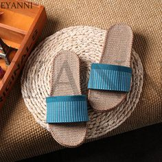 Womens Linen Summer Spring Skidproof Flax Flat Bathroom Indoor Slippers Light