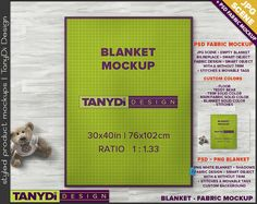 Full Top Cotton Blanket PSD Styled Fabric Mockup | 8 JPG scenes | 30x40 Blanket on Wood Floor B5 | Custom colors Tags Stitches