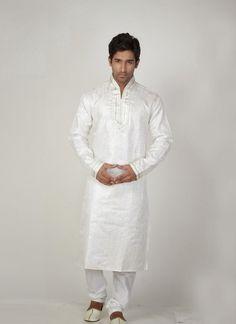 Exotic White Men's Wear Kurta Pyjama #wedding #ShalwarKameez #Designer #Pakistani #Suits #GroomMens #menswear #AsianClothes #India #Reception #Fashion #Punjabi #Style #IndianGroom #GroomSuit #Pants #Jackets #Silk #Navy #Black #Dresses #Embroidery #Bollywood
