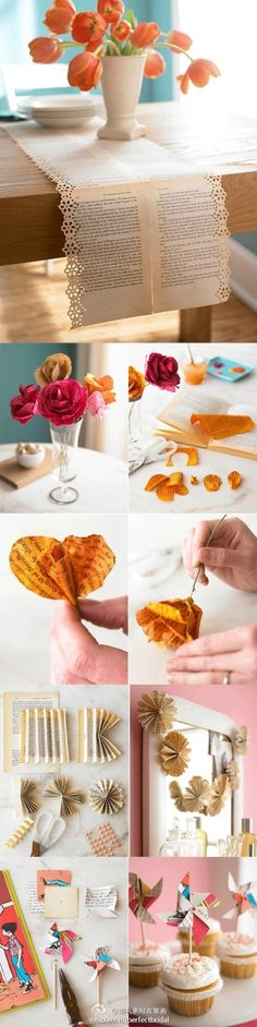 Paper flower ideas - so cute for a book club party!