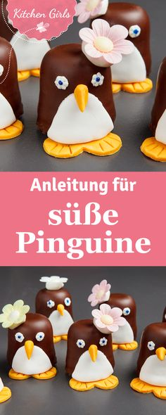 Rezept für Schokokuss-Pinguine Great idea for Carnival and for the children's birthday: Chocolate kisses become cute penguins. Marshmallow Fluff Frosting, Penguin Cakes, Chocolate Marshmallows, Chocolate Kisses, Party Buffet, Snacks Für Party, Safari Party, Food Humor, Macaron