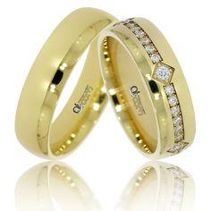 Verighete ATCOM lux Esthera aur galben cu pietre de zirconiu / diamante   Un model de o eleganta desavarsita, cu finisaje moderne, executat cu tehnologie laser.
