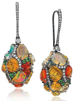 Cellini Jewelers ~ fire opals, diamonds, tsavorites, on a blackened 18-karat gold wire #PurelyInspiration