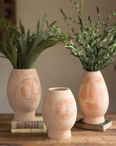 Kalalou Clay Pot Faces - Set Of 3 - These quirky vases are handcrafted in Honduras from natural clay and feature a beautiful rustic finish. Each vase is marked with a unique face drawing which gives them a charming artisan look. Decorative Objects, Decorative Accessories, Decorative Vases, Face Planters, Animal Rug, Clay Faces, Unique Faces, Quirky Home Decor, Clay Pots