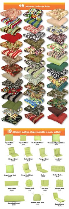This is THE place for affordable patio cushions! My search is finally over :-) Texas, Arizona, Colorado- may have to fly there and stuff a few bags.