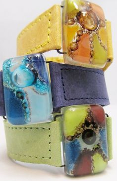 Bracelet Leather and fused glass cuffs. wide Leather Bracelets ON SALE… Leather Jewelry, Metal Jewelry, Leather Craft, Jewelry Art, Leather Bracelets, Bangles, Jewellery, Fused Glass Jewelry, Fused Glass Art